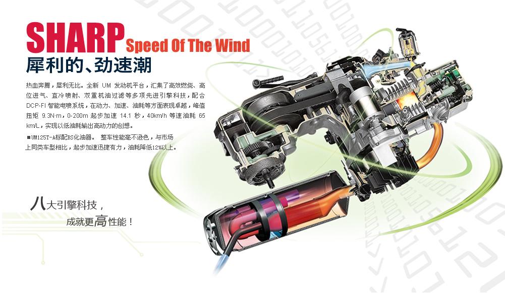 热血奔腾,犀利无比。 全新UM发动机平台,汇集了高效燃烧、高位进气、直冷喷射、双重机油过滤等多项先进引擎科技,配合DCP-FI智能电喷系统,在动力、加速、油耗等方面表现卓越,峰值扭矩9.3N•m,0-200m起步加速14.1秒,1升油可行驶65km(45km/h等速),实现以低油耗输出高动力的创想。